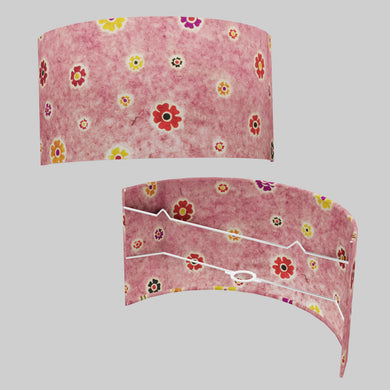 Wall Light - P36 - Batik Multi Flower on Pink, 36cm(wide) x 20cm(h)