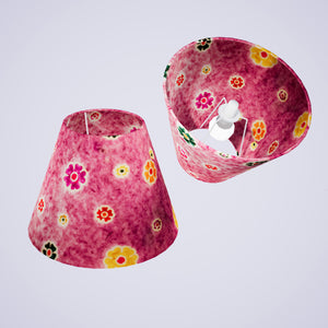 Conical Lamp Shade P38 - Batik Multi Flower on Purple, 15cm(top) x 30cm(bottom) x 22cm(height)