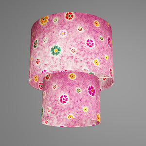 2 Tier Lamp Shade - P38 - Batik Multi Flower on Purple, 30cm x 20cm & 20cm x 15cm