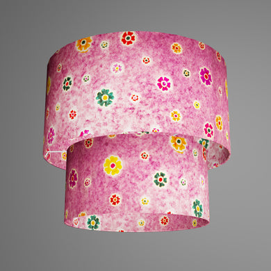 2 Tier Lamp Shade - P38 - Batik Multi Flower on Purple, 40cm x 20cm & 30cm x 15cm
