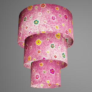 3 Tier Lamp Shade - P38 - Batik Multi Flower on Purple, 40cm x 20cm, 30cm x 17.5cm & 20cm x 15cm