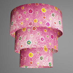 3 Tier Lamp Shade - P38 - Batik Multi Flower on Purple, 50cm x 20cm, 40cm x 17.5cm & 30cm x 15cm