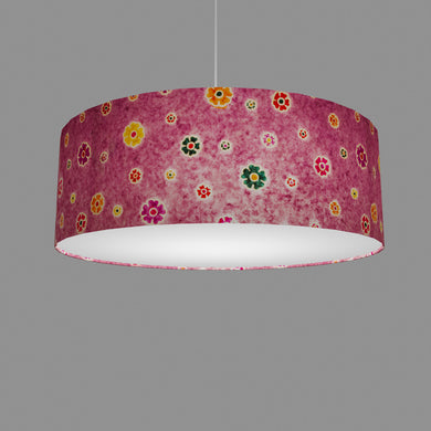 Drum Lamp Shade - P38 - Batik Multi Flower on Purple, 60cm(d) x 20cm(h)