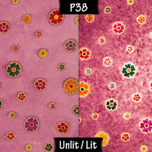 Triangle Lamp Shade - P38 - Batik Multi Flower on Purple, 20cm(w) x 20cm(h) - Imbue Lighting
