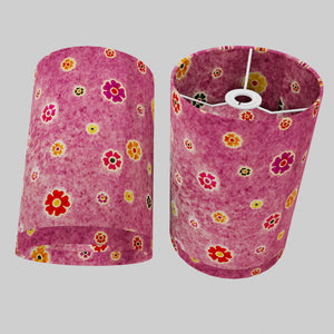 Drum Lamp Shade - P38 - Batik Multi Flower on Purple, 20cm(d) x 30cm(h)