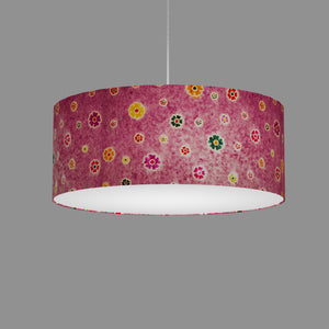Drum Lamp Shade - P38 - Batik Multi Flower on Purple, 50cm(d) x 20cm(h)