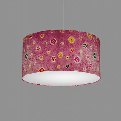 Drum Lamp Shade - P38 - Batik Multi Flower on Purple, 50cm(d) x 25cm(h)
