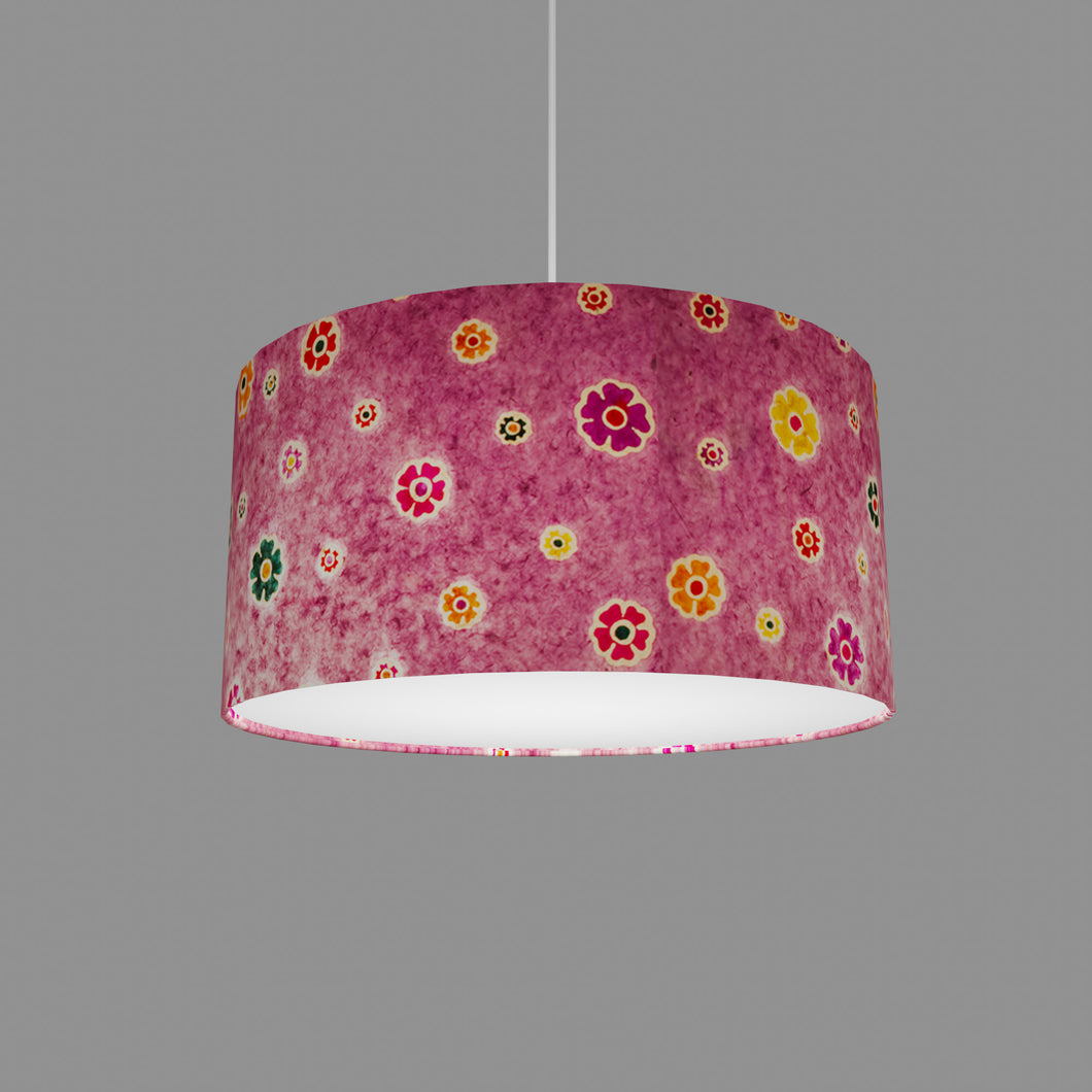 Drum Lamp Shade - P38 - Batik Multi Flower on Purple, 40cm(d) x 20cm(h)