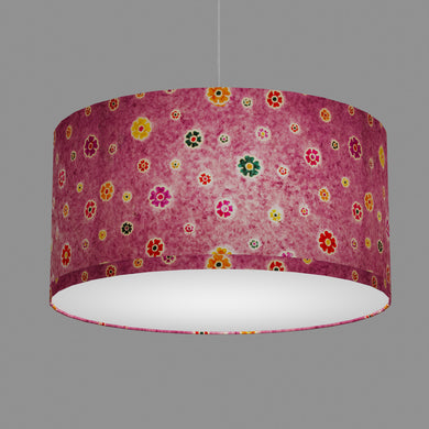 Drum Lamp Shade - P38 - Batik Multi Flower on Purple, 60cm(d) x 30cm(h)