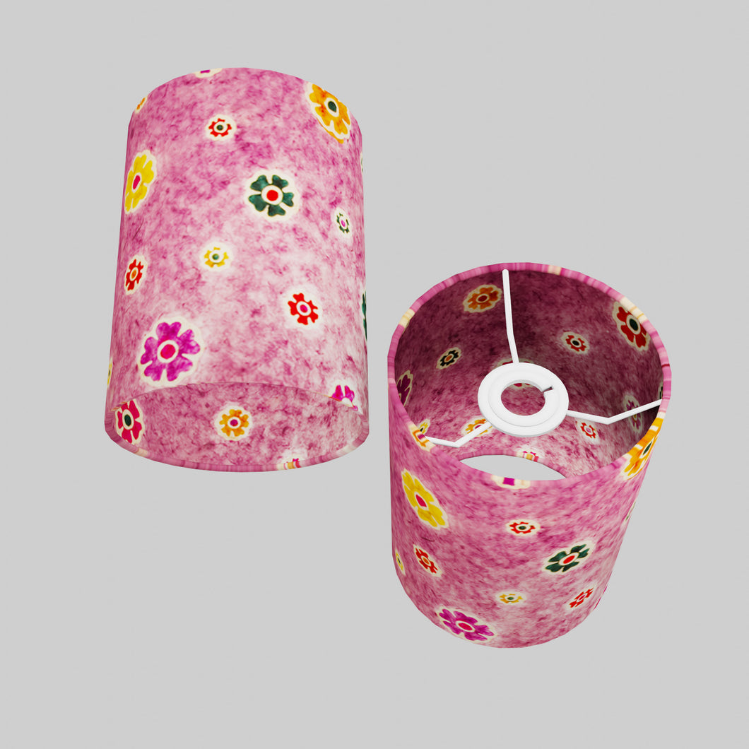 Drum Lamp Shade - P38 - Batik Multi Flower on Purple, 15cm(d) x 20cm(h)
