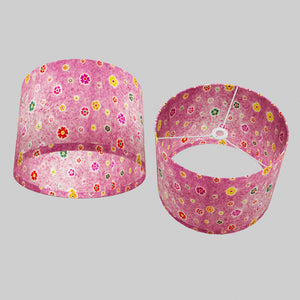 Drum Lamp Shade - P38 - Batik Multi Flower on Purple, 40cm(d) x 30cm(h)