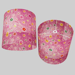 Drum Lamp Shade - P38 - Batik Multi Flower on Purple, 40cm(d) x 40cm(h)