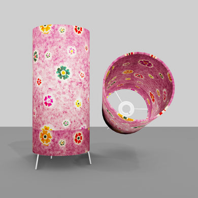 Free Standing Table Lamp Small - P38 ~ Batik Multi Flower on Purple