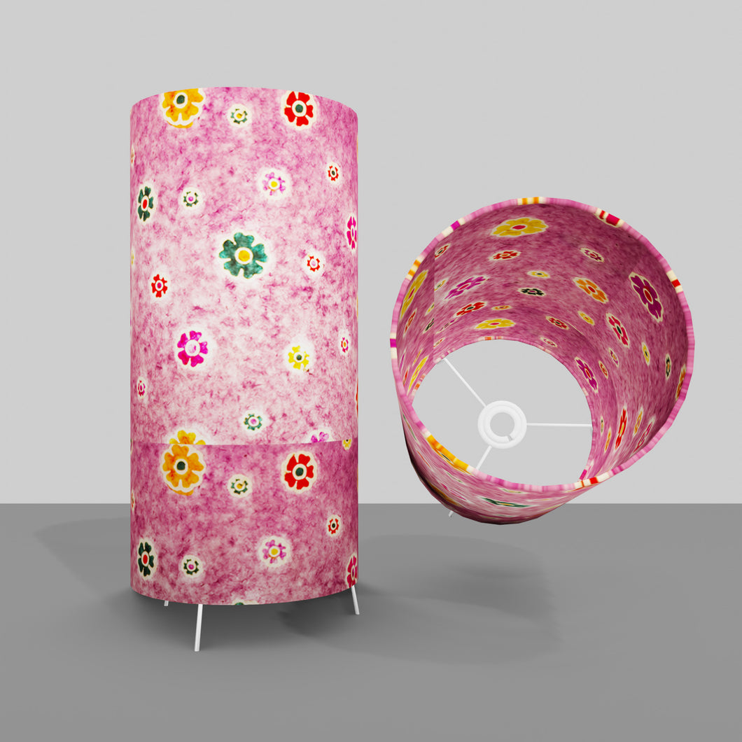Free Standing Table Lamp Large - P38 ~ Batik Multi Flower on Purple