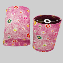 Oval Lamp Shade - P38 - Batik Multi Flower on Purple, 20cm(w) x 30cm(h) x 13cm(d)