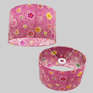 Oval Lamp Shade - P38 - Batik Multi Flower on Purple, 30cm(w) x 20cm(h) x 22cm(d)