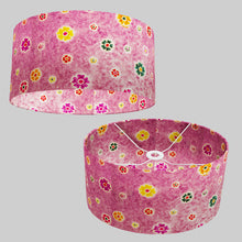 Oval Lamp Shade - P38 - Batik Multi Flower on Purple, 40cm(w) x 20cm(h) x 30cm(d)