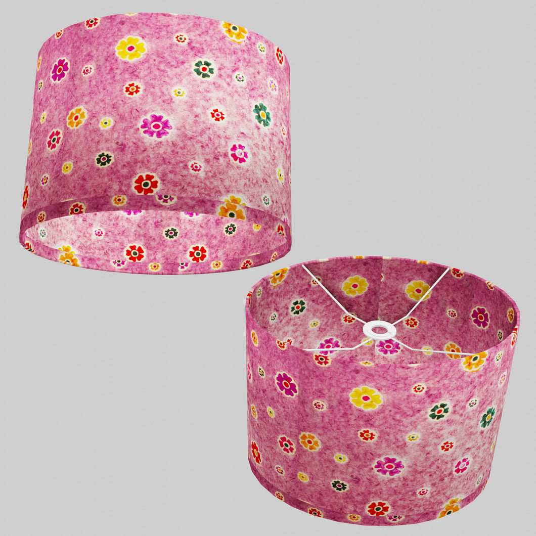 Oval Lamp Shade - P38 - Batik Multi Flower on Purple, 40cm(w) x 30cm(h) x 30cm(d)