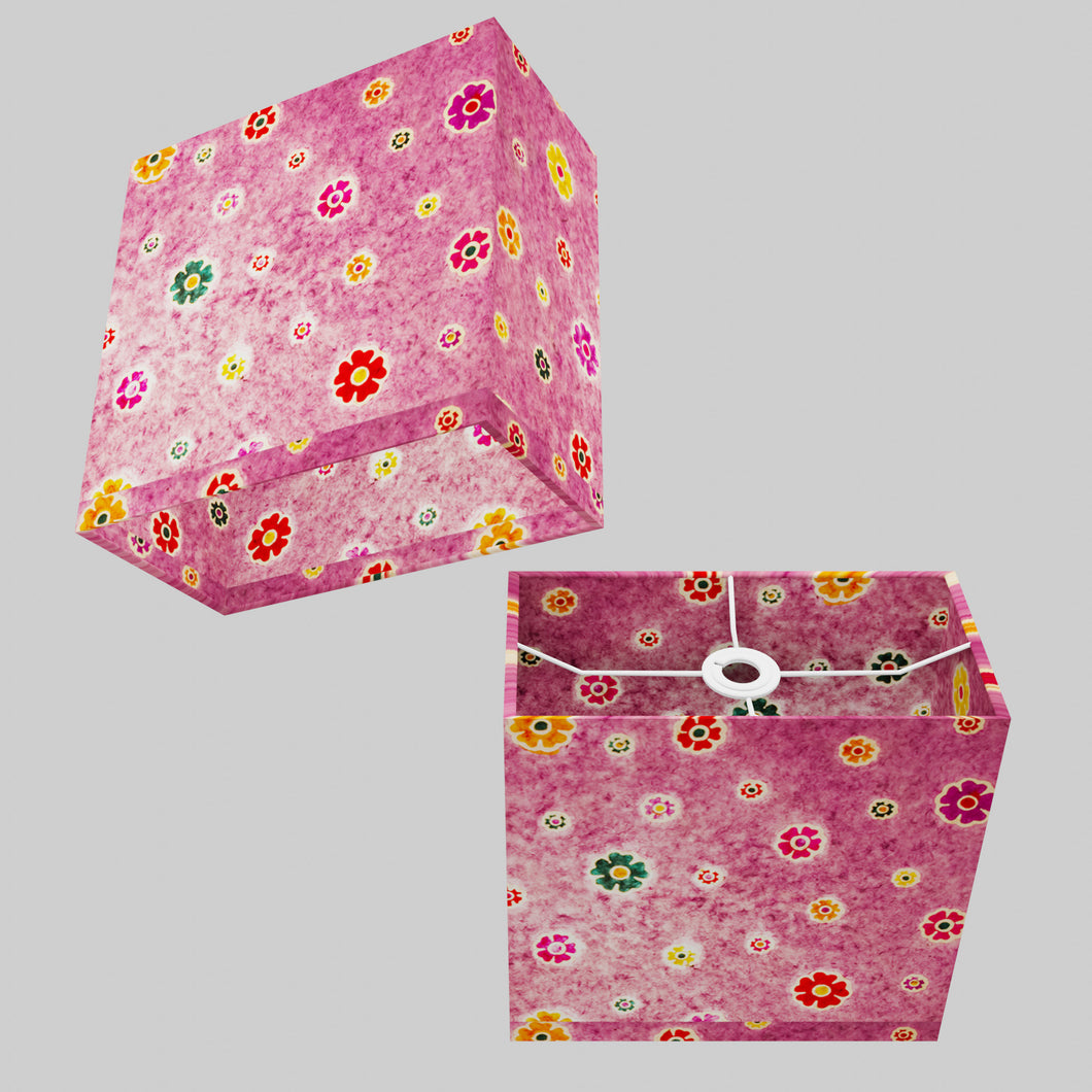 Rectangle Lamp Shade - P38 - Batik Multi Flower on Purple, 30cm(w) x 30cm(h) x 15cm(d)