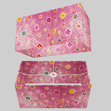 Rectangle Lamp Shade - P38 - Batik Multi Flower on Purple, 50cm(w) x 25cm(h) x 25cm(d)
