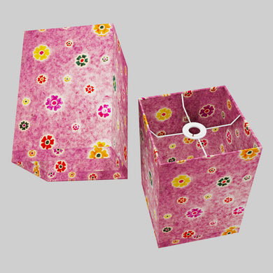 Square Lamp Shade - P38 - Batik Multi Flower on Purple, 20cm(w) x 30cm(h) x 20cm(d)