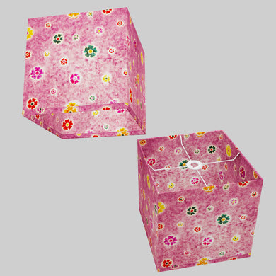 Square Lamp Shade - P38 - Batik Multi Flower on Purple, 30cm(w) x 30cm(h) x 30cm(d)