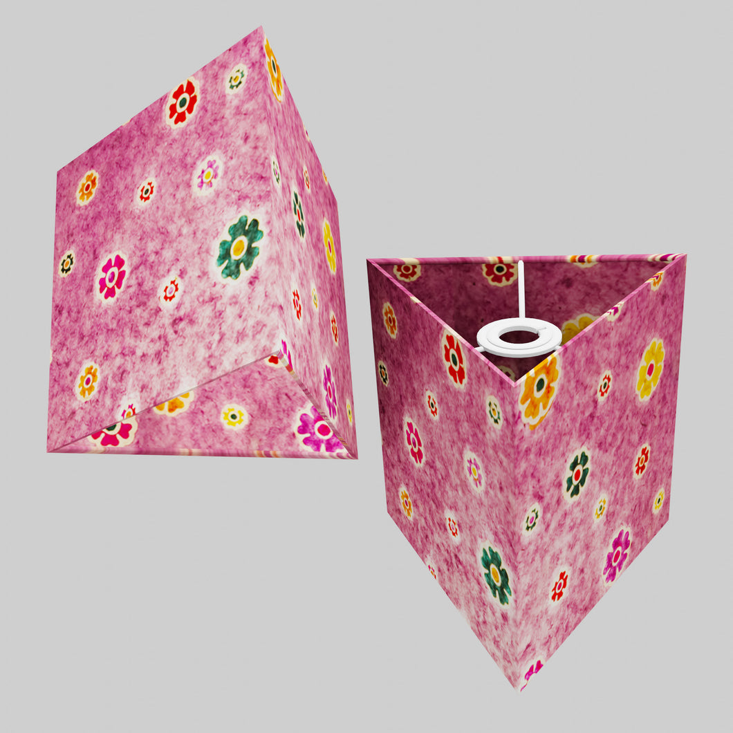 Triangle Lamp Shade - P38 - Batik Multi Flower on Purple, 20cm(w) x 20cm(h)