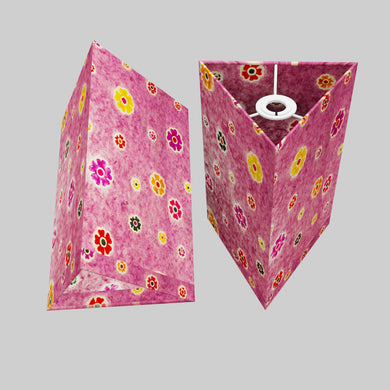 Triangle Lamp Shade - P38 - Batik Multi Flower on Purple, 20cm(w) x 30cm(h)