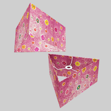 Triangle Lamp Shade - P38 - Batik Multi Flower on Purple, 40cm(w) x 20cm(h)