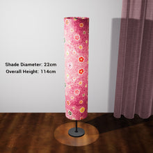Drum Floor Lamp - P38 - Batik Multi Flower on Purple, 22cm(d) x 114cm(h) - Imbue Lighting