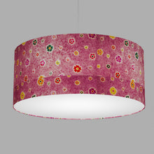 Drum Lamp Shade - P38 - Batik Multi Flower on Purple, 70cm(d) x 30cm(h)