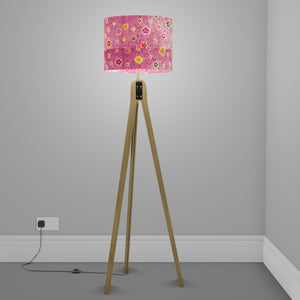 Oak Tripod Floor Lamp - P38 - Batik Multi Flower on Purple