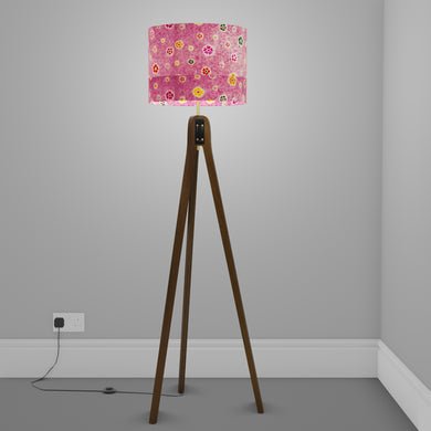 Sapele Tripod Floor Lamp - P38 - Batik Multi Flower on Purple