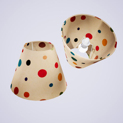 Conical Lamp Shade P39 - Polka Dots on Natural Lokta, 15cm(top) x 30cm(bottom) x 22cm(height)