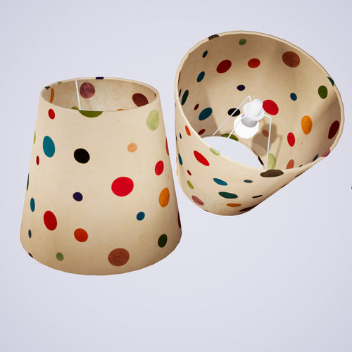 Conical Lamp Shade P39 - Polka Dots on Natural Lokta, 23cm(top) x 35cm(bottom) x 31cm(height)