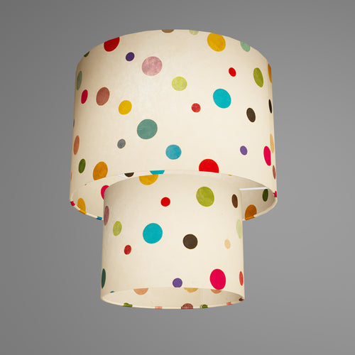 2 Tier Lamp Shade - P39 - Polka Dots on Natural Lokta, 30cm x 20cm & 20cm x 15cm