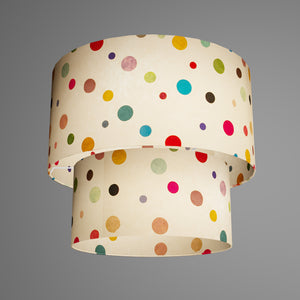2 Tier Lamp Shade - P39 - Polka Dots on Natural Lokta, 40cm x 20cm & 30cm x 15cm