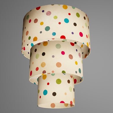 3 Tier Lamp Shade - P39 - Polka Dots on Natural Lokta, 40cm x 20cm, 30cm x 17.5cm & 20cm x 15cm