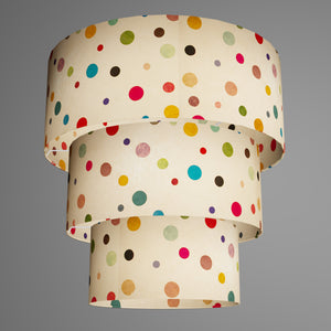 3 Tier Lamp Shade - P39 - Polka Dots on Natural Lokta, 50cm x 20cm, 40cm x 17.5cm & 30cm x 15cm