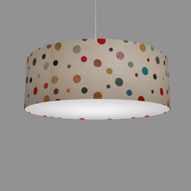 Drum Lamp Shade - P39 - Polka Dots on Natural Lokta, 60cm(d) x 20cm(h)