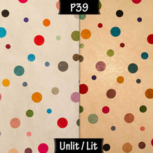 Drum Lamp Shade - P39 - Polka Dots on Natural Lokta, 15cm(d) x 30cm(h) - Imbue Lighting