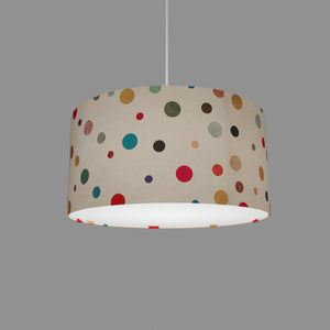 Drum Lamp Shade - P39 - Polka Dots on Natural Lokta, 40cm(d) x 20cm(h)
