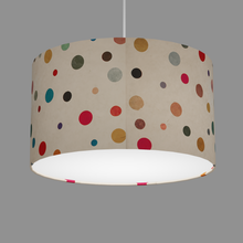 Drum Lamp Shade - P39 - Polka Dots on Natural Lokta, 35cm(d) x 20cm(h)