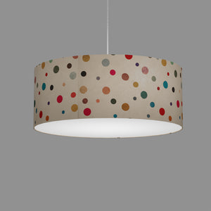 Drum Lamp Shade - P39 - Polka Dots on Natural Lokta, 50cm(d) x 20cm(h)