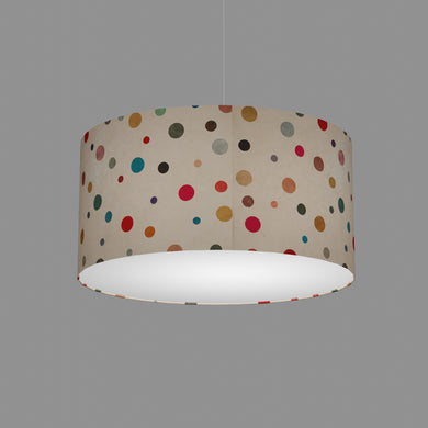 Drum Lamp Shade - P39 - Polka Dots on Natural Lokta, 50cm(d) x 25cm(h)