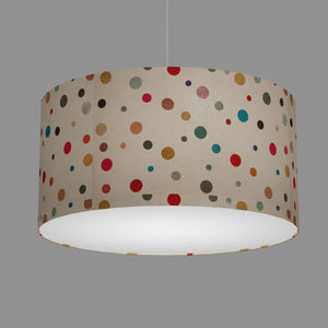 Drum Lamp Shade - P39 - Polka Dots on Natural Lokta, 60cm(d) x 30cm(h)