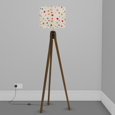 Sapele Tripod Floor Lamp - P39 - Polka Dots on Natural Lokta