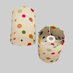 Drum Lamp Shade - P39 - Polka Dots on Natural Lokta, 15cm(d) x 20cm(h)