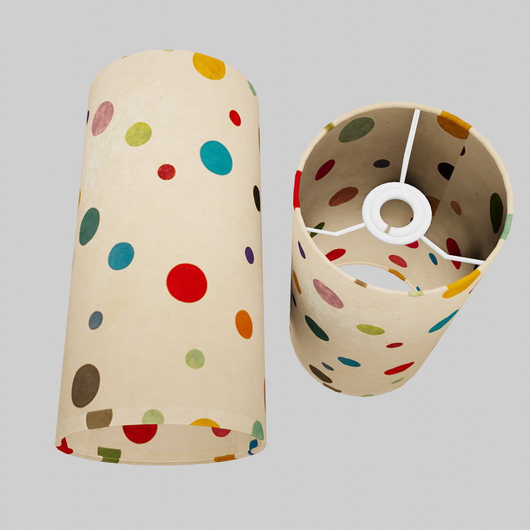 Drum Lamp Shade - P39 - Polka Dots on Natural Lokta, 15cm(d) x 30cm(h)
