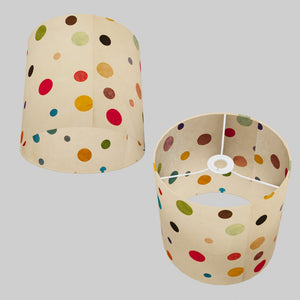 Drum Lamp Shade - P39 - Polka Dots on Natural Lokta, 25cm x 25cm